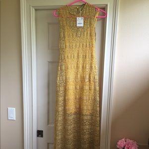 Zara yellow maxi dress size small brand new